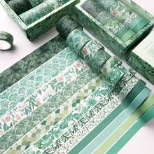Decorative Masking-Tape Green Sticker Stationery-Supply Scrapbooking Diary Plant 12pcs/Set
