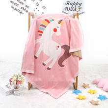 Baby Knitted Blanket Cute Unicorn Swaddling Newborn Kids Warm Bedding Decoration Blankets Props Children Bath Towel 100*80