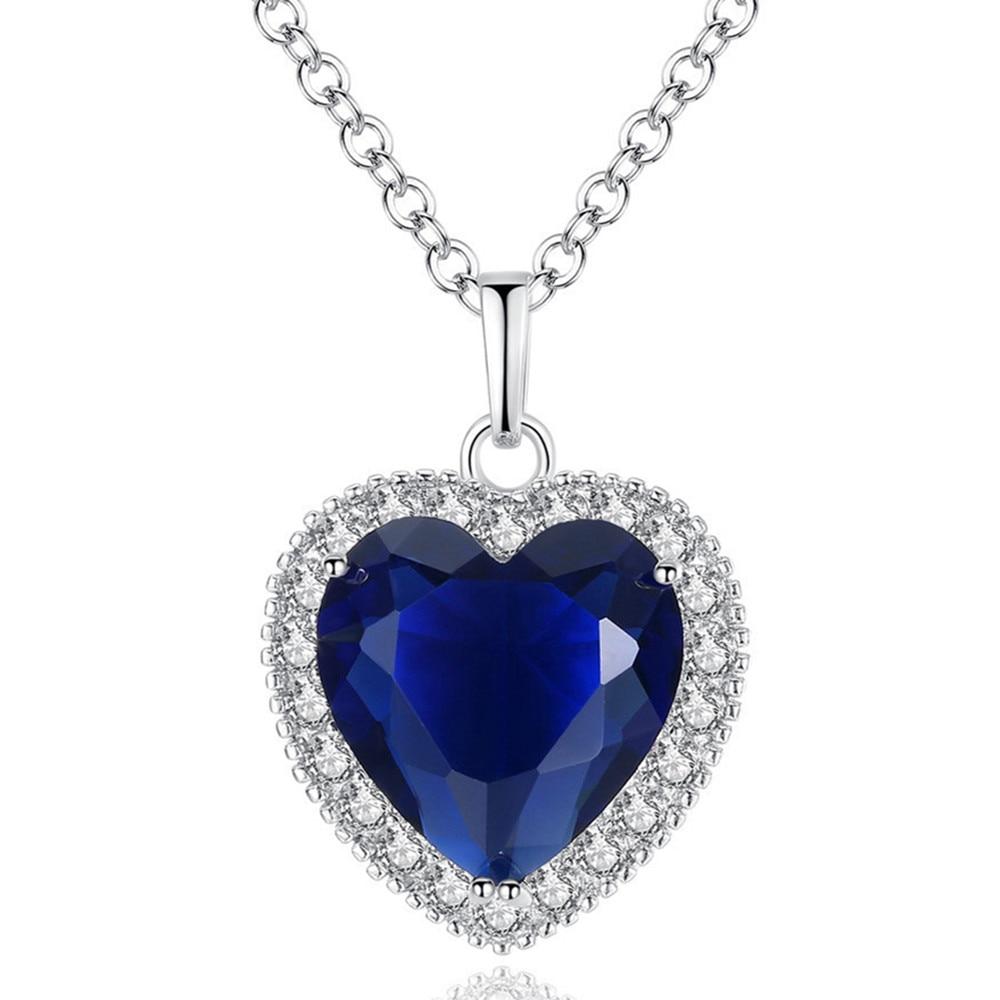 Necklace Jewelry,Women Rhinestone Heart Pendant Necklace Chain Stud Earrings Party Jewelry Set Royal Blue