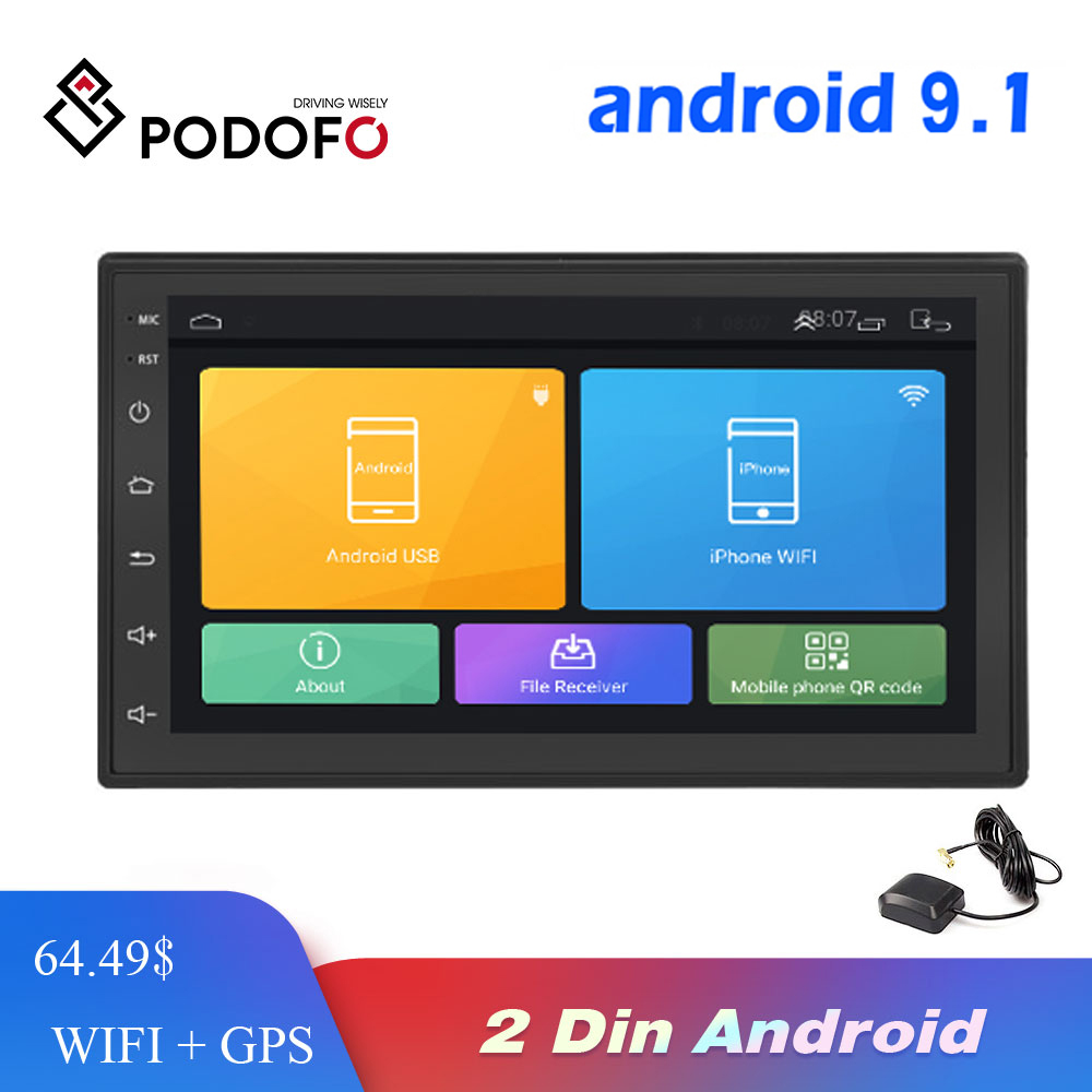 Podofo Android Car Radio Multimedia player 2 Din 7'' Touch Screen Autoradio Bluetooth FM WIFI AUX 2DIN GPS Audio Player Stereo image