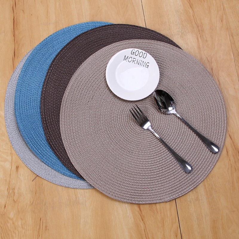 INS Round Woven PP Placemats Waterproof Dining Table Mats Non-Slip Tableware Bowl Pads Drink Cup Coasters Kitchen Party Supplies