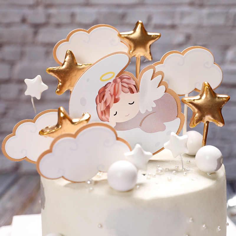 Pleasant 1 Set Angel Moon Stars Babys Theme 1St Birthday Cake Decoration Personalised Birthday Cards Veneteletsinfo