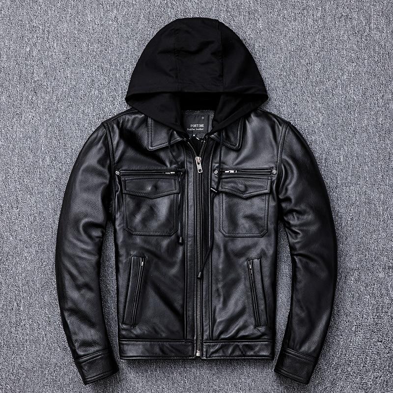 2020 Black Men Russian Autumn Motorcycle Jacket Plus Size XXXXXL Genuine Cowhide Slim Fit Hood Biker's Leather Coat