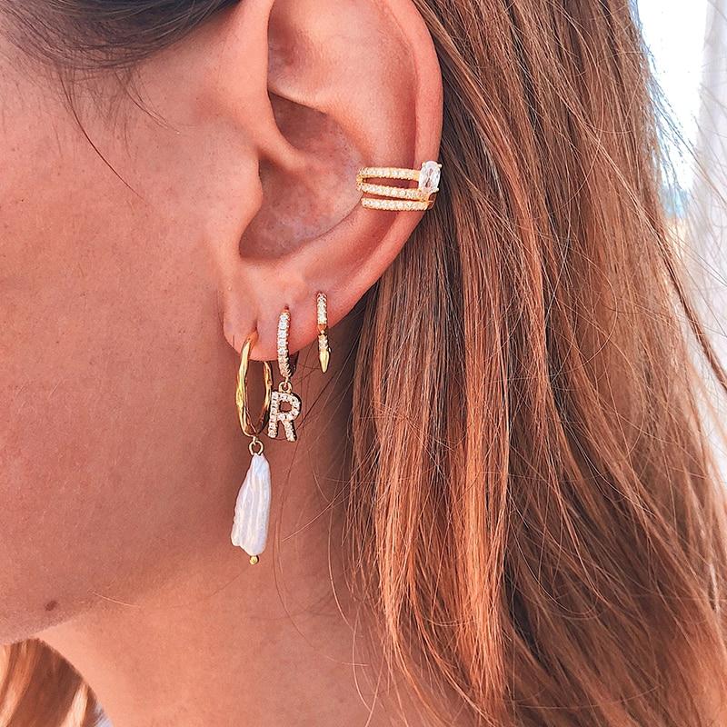 26 English Letters Ear Bone Nail Stainless Steel Zircon Stud Earring Jewelry