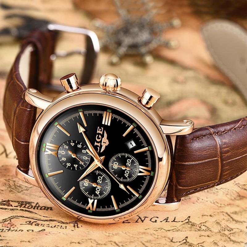 2019 LIGE Business Leather Fashion Waterproof Quartz Watch For Mens Watches Top Brand Luxury Male Date Innrech Market.com
