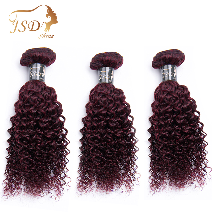 JSDShine HAIR 3PC Peruvian Kinky Curly Hair Weaves Non Remy Human Hair Bundles 8-28 Inch 99J Red Hair Weft Free Shipping