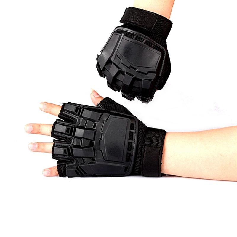 Military Fingerless Gloves US Army Training Hunting Combat Gear Anti-Slip Wearproof Hard Shell Half Finger Men's Tactical Gloves