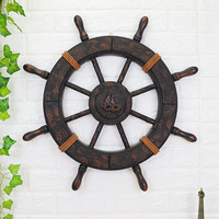Large 62CM Mediterranean Style Ancient Wood Wooden Boat Ship Rudder Nautical Home Wall Nautical Steering Wheel Home Decor Gifts