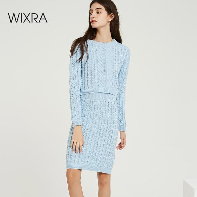 Wixra Conjuntos de punto de otoño e invierno para mujer, suéteres de manga larga con cuello redondo, faldas hasta la rodilla, conjuntos sólidos para mujer