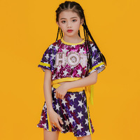 Jazz Fashion Sequin Tassel Top Skirt Cheerleading Performance Costume Girls Hip Hop Dance Clothing Modern Stage Outfit 120 170CM
