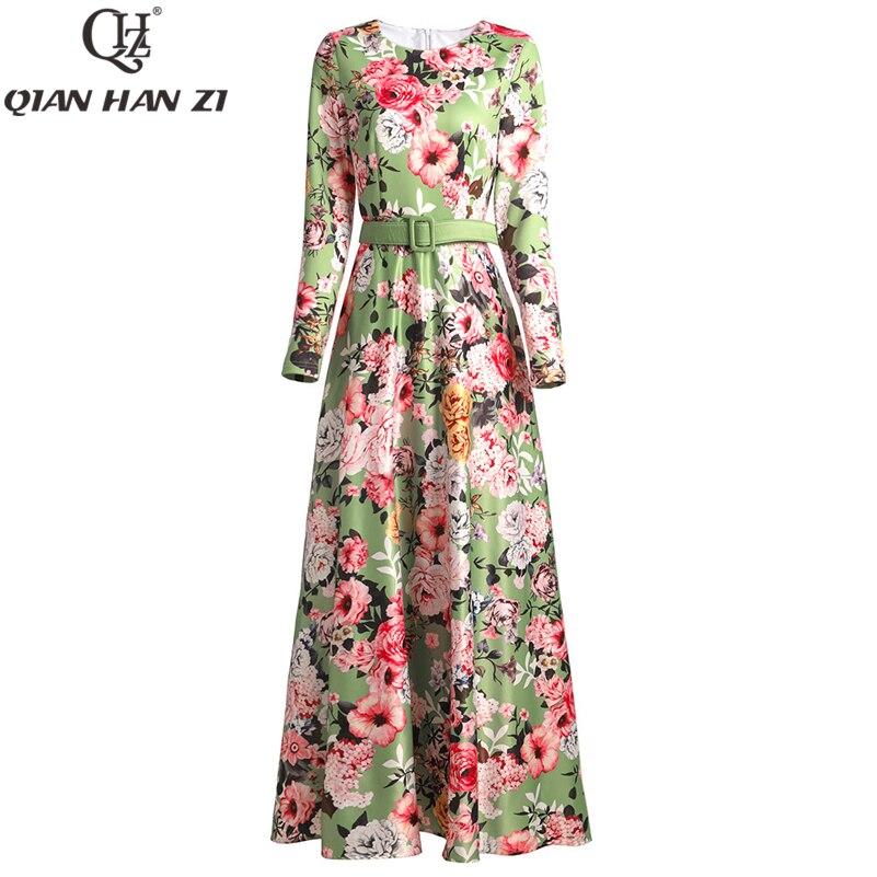 Qian han zi 2020 designer de moda maxi vestido manga longa das mulheres alta qualidade incrível flor cinto impressão do vintage vestido longo - 2
