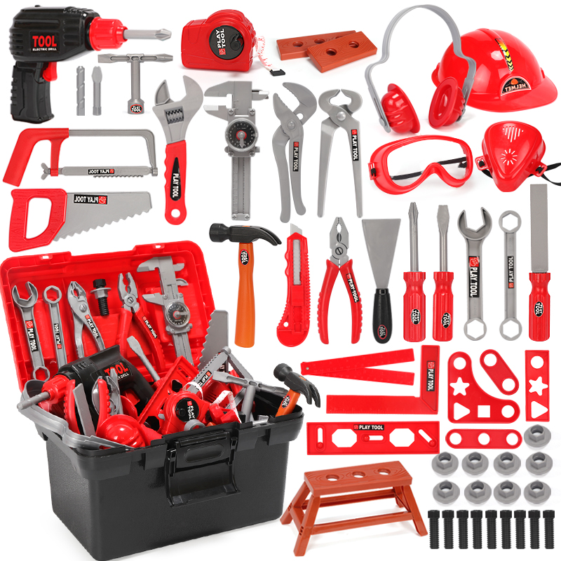 Children's Toolbox Engineer Simulation Repair Tools Ax Carpentry Drill Screwdriver Repair Kit Play Toy Set For Kids Gift