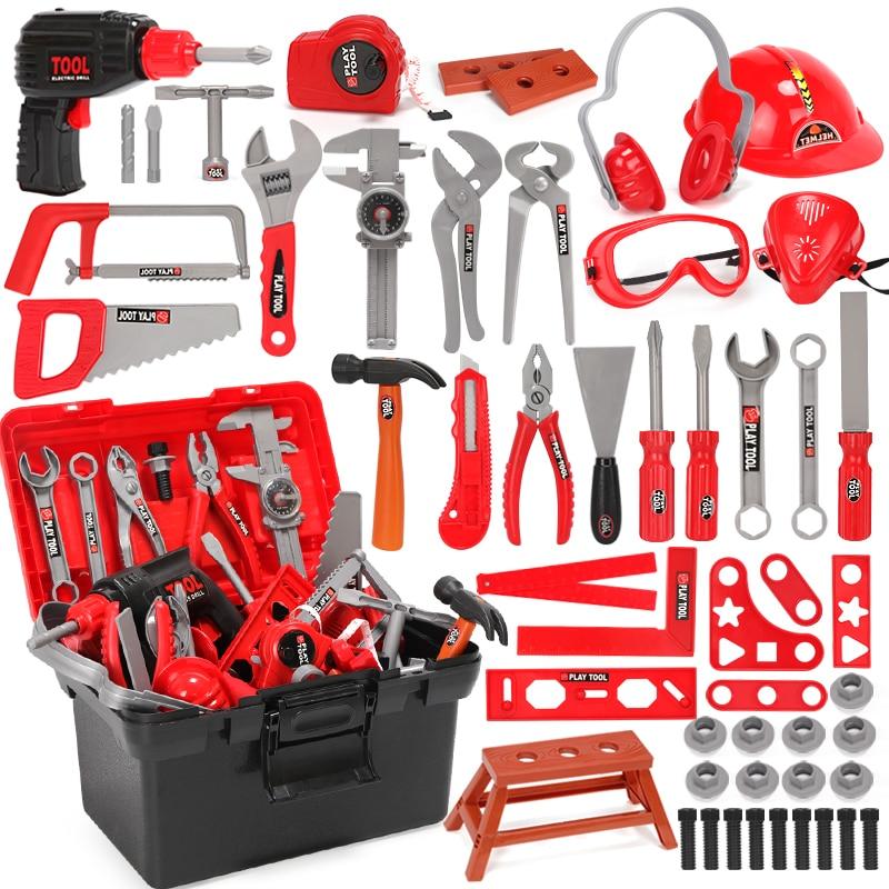 Children's Toolbox Engineer Simulation Repair Tools Ax Carpentry Drill Screwdriver Repair Kit Play Toy Set For Kids Gift