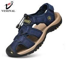 Сандалии мужские из натуральной кожи, уличные удобные босоножки, повседневная обувь, для походов, большие размеры 46 47, лето 2021