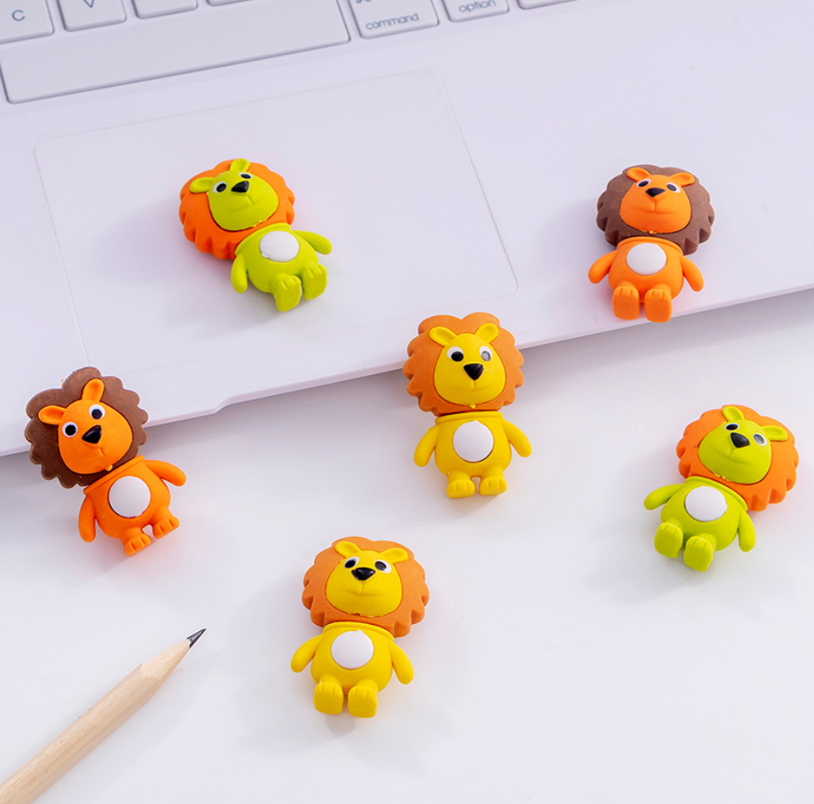 2pcs Lions Lovely Cute Rubber Pencil Eraser Stationary School Supplies Items Kawaii Office Cartoon Kids Gift Students Prizes