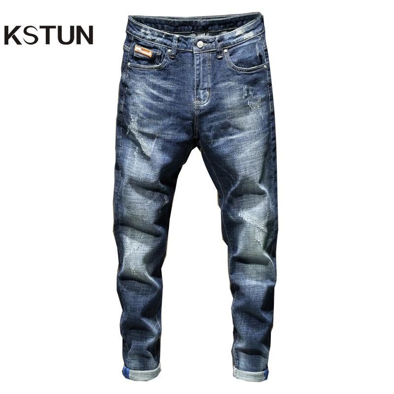 KSTUN Jeans Men 2019 Autumn Slim Fit Blue Stretch Casual Famous Brand High Quality Jeans Denim Pants Man Long Trousers Hombre