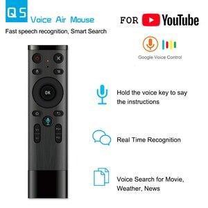 Image 3 - Q5 Control remoto por voz Fly Air Mouse 2,4 GHz, micrófono inalámbrico de Google, mando a distancia con giroscopio para Android TV Box T9/X96 mini