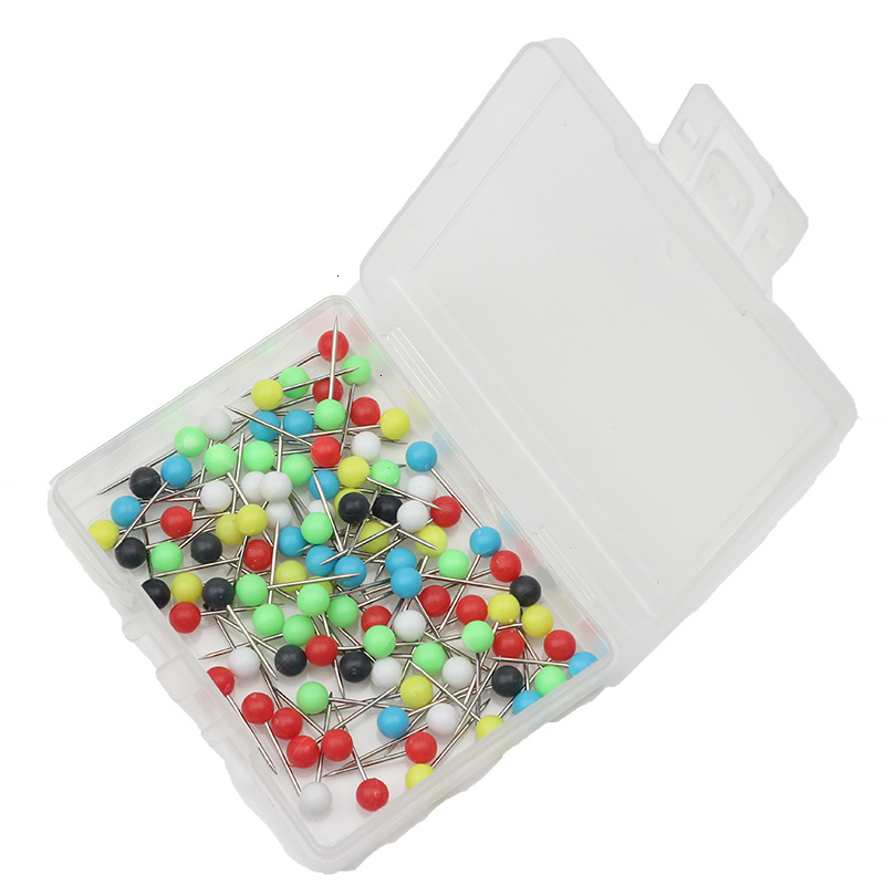 Rompin 100pcs/box Fishing Plastic Round Head Big Pin Map Tack Pin Steel Point Fishing Line Winder Thumbtack Accessories