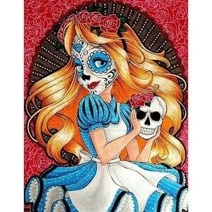 Quadrado completo redondo 5d diy pintura diamante crânio menina diamante bordado rosa máscara dos desenhos animados artesanato de cristal decoração para casa presente z59