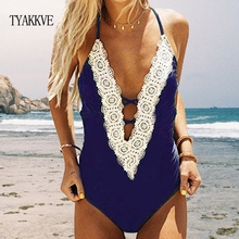 TYAKKVE Sexy One-piece Swimsuit Backless Deep V neck Lace Monokini Push Bodysuit 2019 Beach Vintage Bathing Suit Women Swimwear