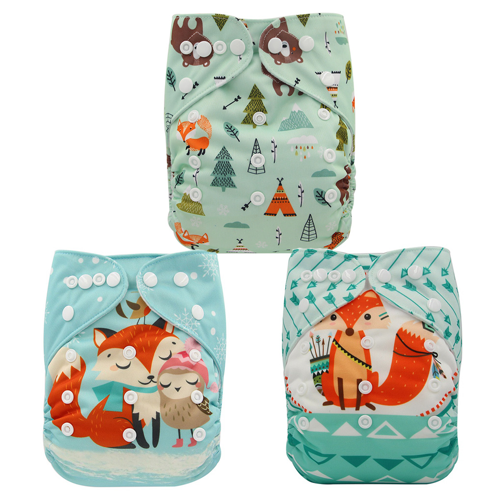 Ohbabyka Suede Cloth Diapers 3 Pack Waterproof Baby Nappy One Size Fits All Newborn Reusable Cloth Diapers With Pockets For Boys