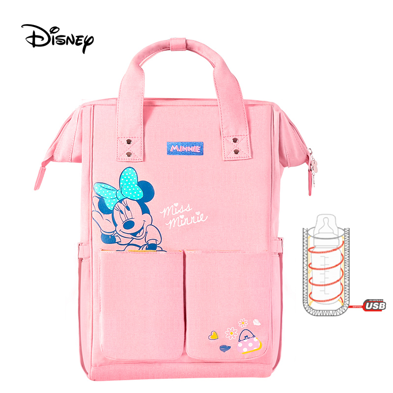 Disney Diaper Bag Mummy Bag Multifunctional Large Capacity Backpack Double Pocket Fashion USB Insulation Bags