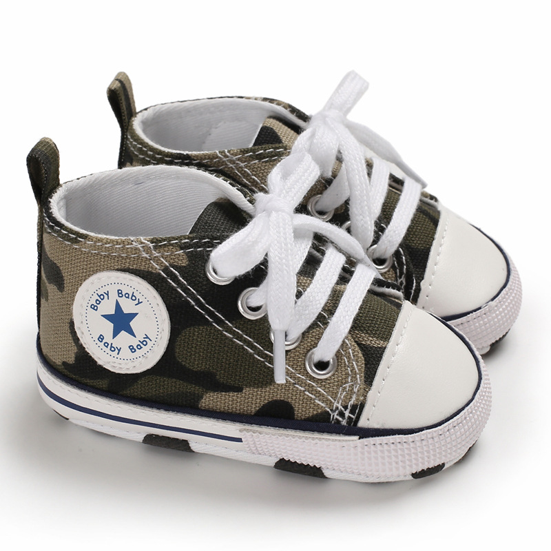 Star Infant Toddler Girls Baby Boys Shoes Army Green Print Casual Canvas GoodLooking Kid First Walkers Pratice Walking Lace-Up