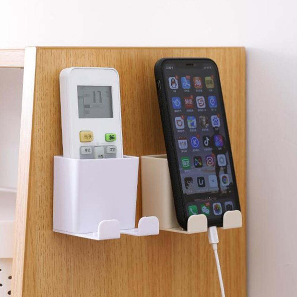 Remote Control Box Wall Mount Punch Free Shelf Cell Phone Holder Storage Rack OZ