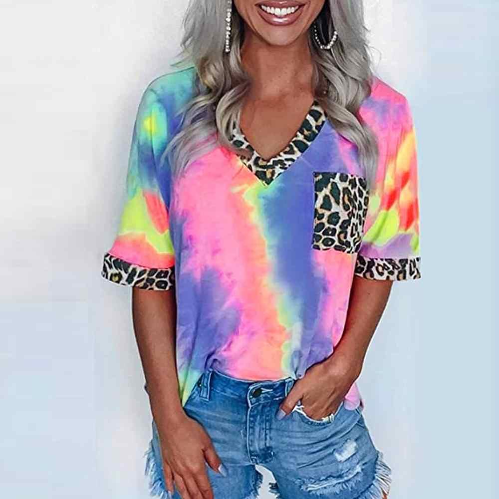 여성 캐주얼 타이 염료 T 셔츠 여름 레오파드 패치 워크 V 넥 반팔 탑 T 셔츠 여성 Camisetas Verano Mujer 2020