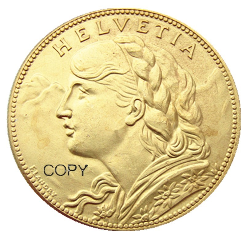 Switzerland 100 Frs 1925 Gold Plated Creative Copy Coin