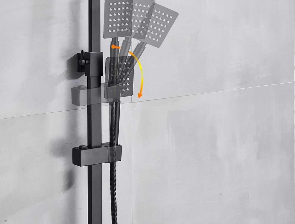 H3ebe8b6fc4a14cd5bde12909516ecf57m POIQIHY Black Bathroom Shower Faucet Set Wall Mount Black 8''Rainfall Shower Head With Handheld Sprayer Bathtub Shower Mixer