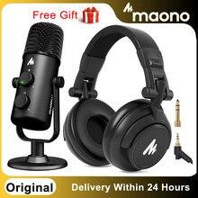 Maono AU-903 usb microfone com AU-MH601 monitor de estúdio fones computador microfone plug & play para podcast ao vivo youtube