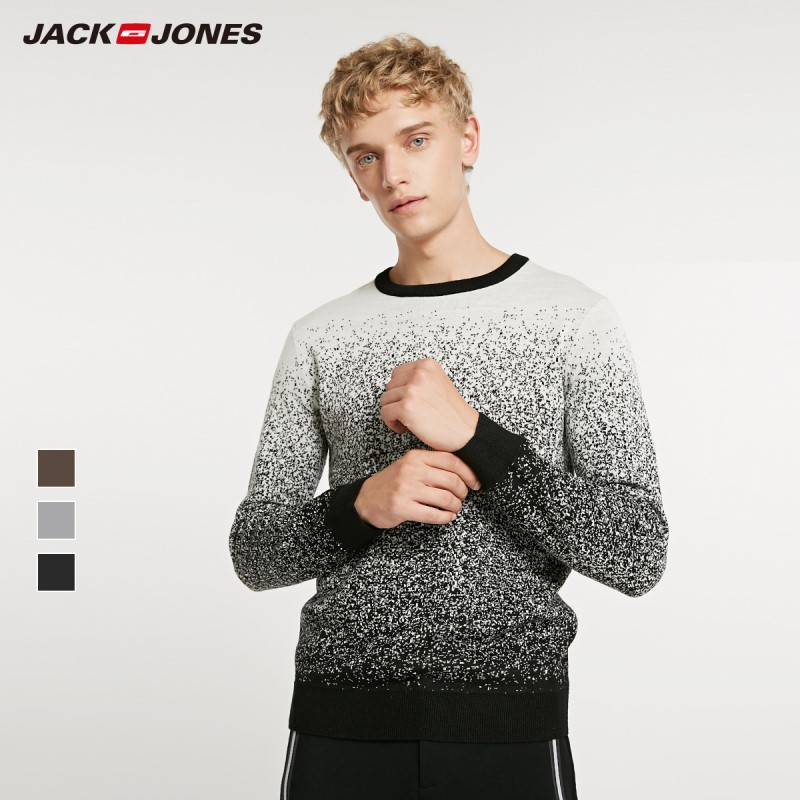 JackJones Winter Men's Wool Cool Gradient Sweater O-Neck  Pullovers Menswear 218424511