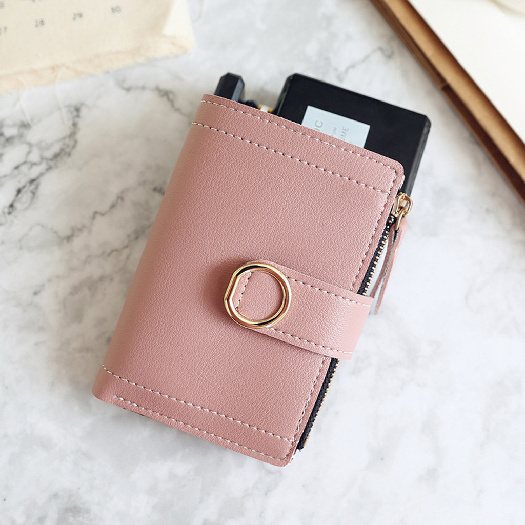 Coin Purse Women Short Style Fashion Pure Color Coin Purse Card Holder Mini Bag Porte Monnaie New Fashion Purses And Handbags