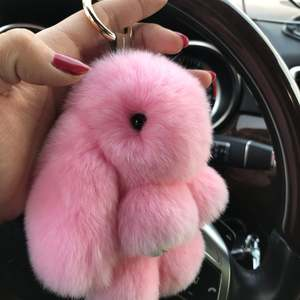 Car keychain lovers rabbit bags hangings male female quality plush gift Genuine Rex Rabbit Plush Suit Rabbit Pendant Bunny Birth