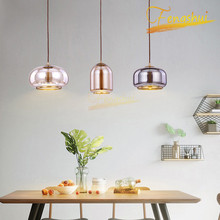 Nordic LED Gradient Glass Pendant Lamp Lighting Modern Lights Loft Living Room Bedroom Cafe Interior Hanging Lamps
