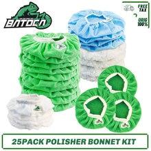 Batoca 25 pacote carro polimento bonnet almofadas kit polidor bonnets microfibra, lã, algodão, tecidos não tecidos, micro pérola buffer