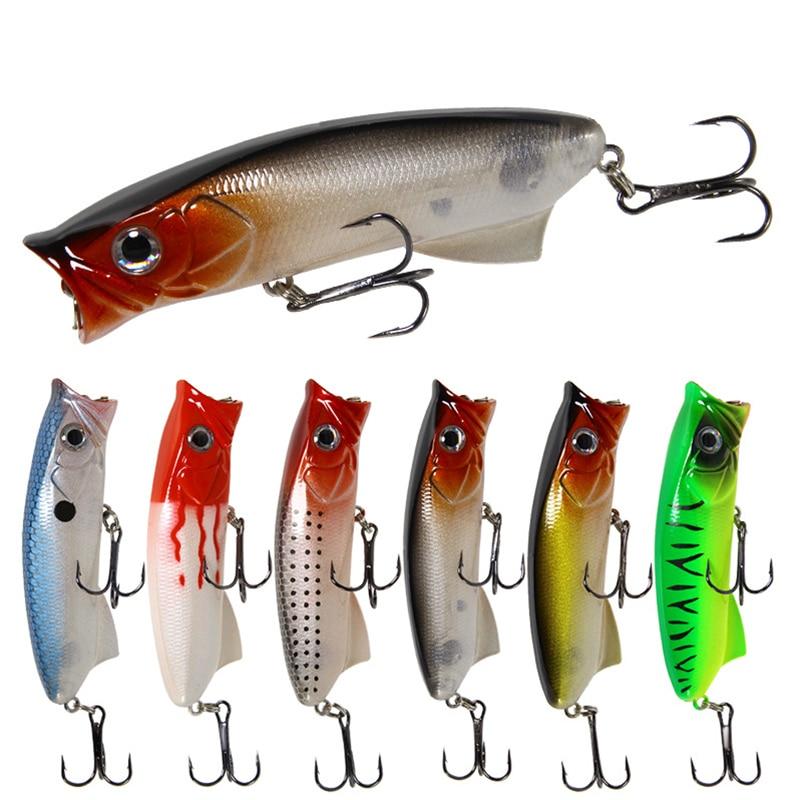 5pcs Lures Popper Bionic Fake Plastic Hard Bait Bass Trout Salmon Fishing Tackle