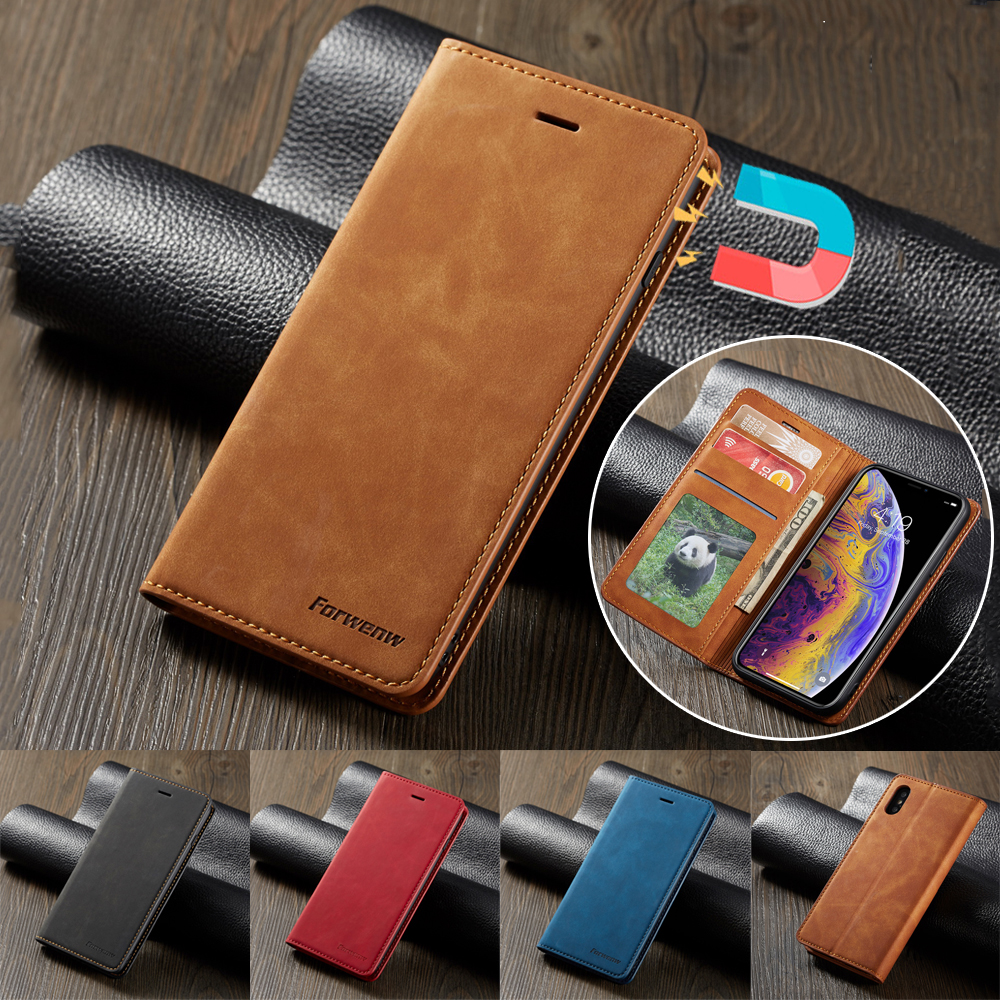 Magnetc Leather <font><b>Case</b></font> For <font><b>iPhone</b></font> 11 Pro XS Max XR X SE 2020 8 7 6 6S Plus <font><b>5</b></font> 5S Coque Wallet Cover for Samsung S20 S10 S9 S8 <font><b>Cases</b></font> image