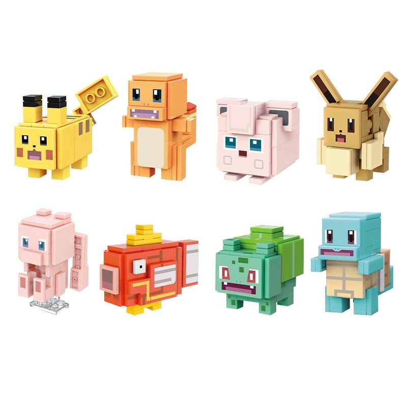 Pokemon Building Blocks Bricks Blind Box Pikachu Bulbasaur Eevee Squirtle Cartoon Pokemon Assembling Toys Kids Model Toys Gift