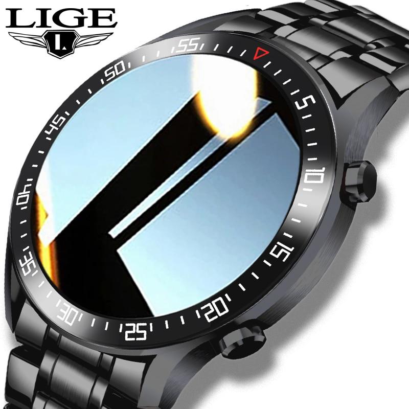 LIGE 2021 New Full circle touch screen Mens Smart Watches IP68 Waterproof Sports Fitness Watch Man Innrech Market.com