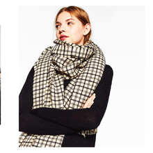 Womens Poncho Houndstooth Capes Variety Scarf Double-Faced Cashmere Black and White Plaid Shawl Warm Cloak