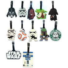 2pcs Star Wars luggage tap BB8 toys set New Force Awaken BB-8 boba fett chewbacca Darth Vador clone Trooper Yoda bag decoration