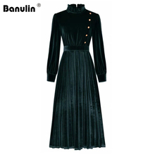 Long-Dress Banulin Velvet Work Pleated Fashion Runway Elegant Vintage Plus-Size Button