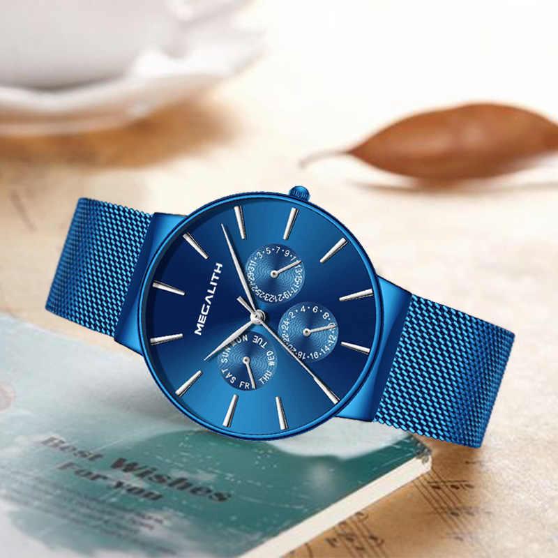 MEGALITH hommes montres haut de gamme de luxe étanche montre-bracelet Ultra mince Date Quartz montre pour hommes sport horloge Erkek Kol Saati