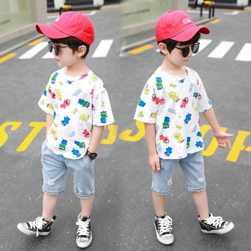 Baby Boys Clothing 2020 Summer Kids Cartoon Tops Tshirt Denim Pants Sport Suit Childrens Short Sleeve T Shirt Jeans Clothes Sets 4