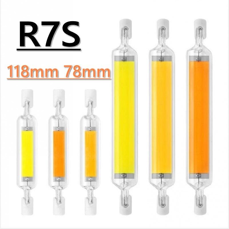 LED R7S 78mm 15W 20W R7S High Powerful Spotlight 118mm 30W 40W 50W AC220V COB Lamp Bulb Glass Tube Replace Halogen Lamp Light