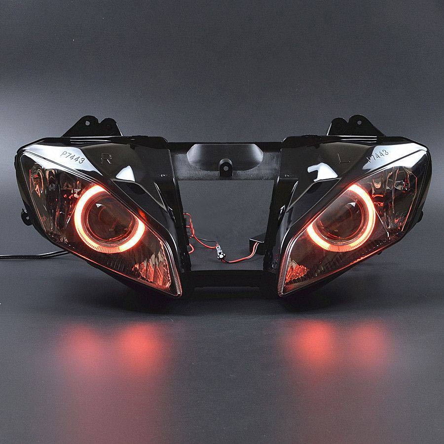 Motorcycle Front Headlight Full Assembly Headlight Projector Red Angel Eyes Hi/Lo For Yamaha YZF R6 06 2007