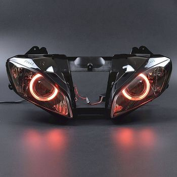 Motorcycle Front headlight Full Assembly Headlight Projector Red Angel Eyes Hi/Lo For Yamaha YZF R6 06 2007 image