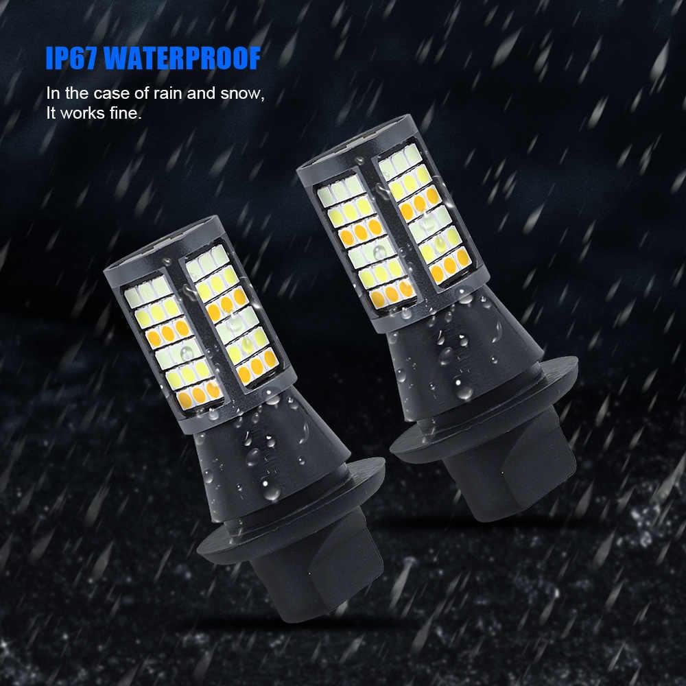 NEW 7440 1156 BA15S BAU15S 3030 SMD LED Car DRL Turn Signal Light Daytime Running Lights 12V 81 LEDs Tri Colors Auto Fog Lamp